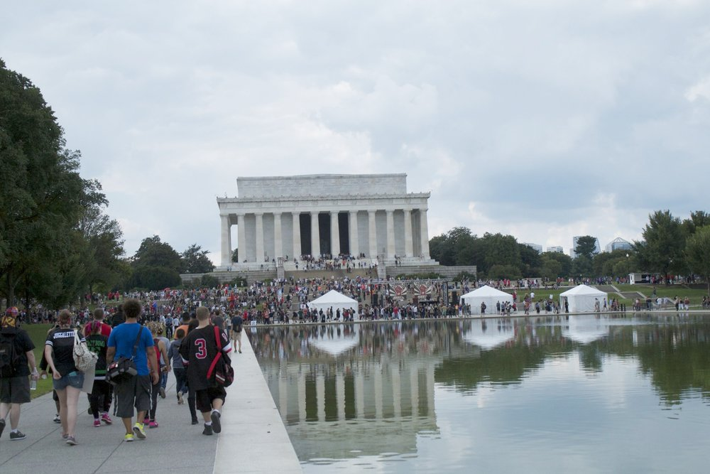 Juggalos arriving at the Lincoln Memorial. Photo: MW.