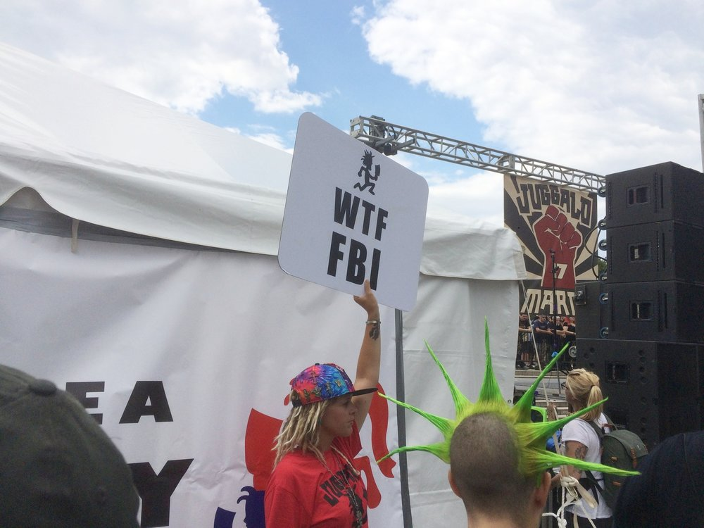 "Scores of ""WTF FBI"" protest signs were visible throughout the day."