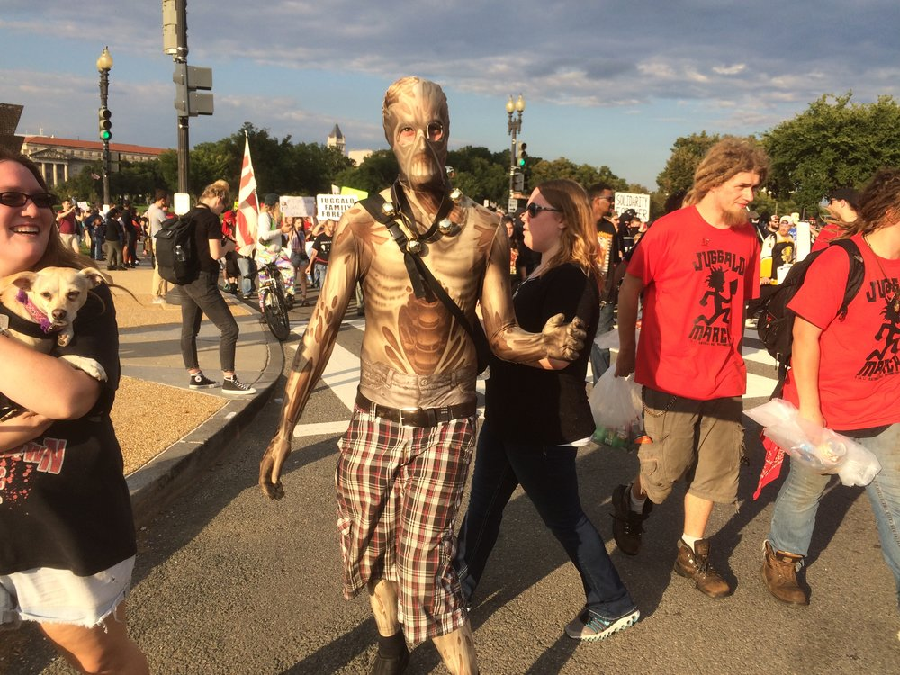 This zombie went full method actor, limping terrifyingly throughout virtually the entire march.