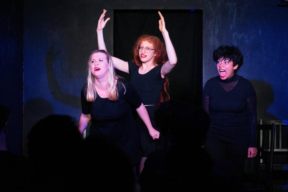(L-R) Christi Chiello, Lena Einbinder,  and  Lorelei Ramirez  performing at Actors, 10/22/15, The Annoyance Theater, Brooklyn, NY,Photo: Mindy Tucker