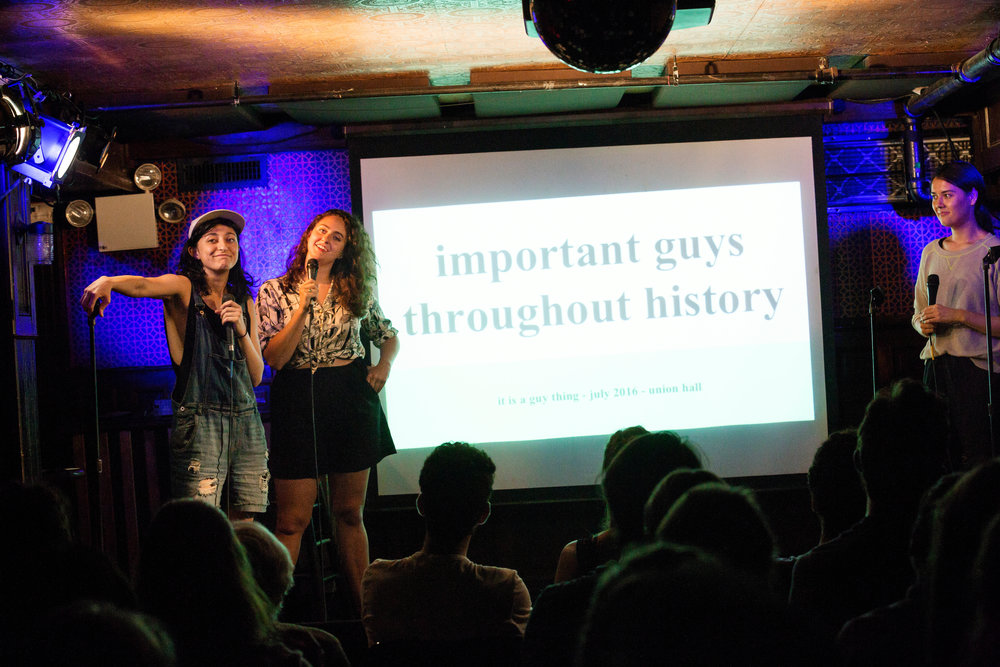 (L-R) Mitra Jouhari, Catherine Cohen,  and  Patti Harrison  hosting It's A Guy Thing, 7/8/16, Union Hall, Brooklyn, NY, Photo: Mindy Tucker
