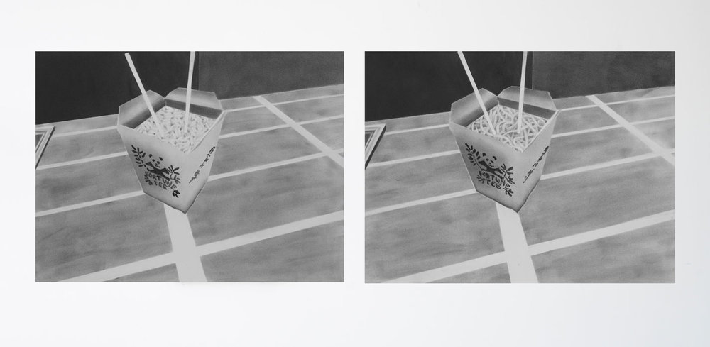 "From Christine Navin's ""Takeout Series"" (2013), both graphite and paper on plexi, 18 x 26""."