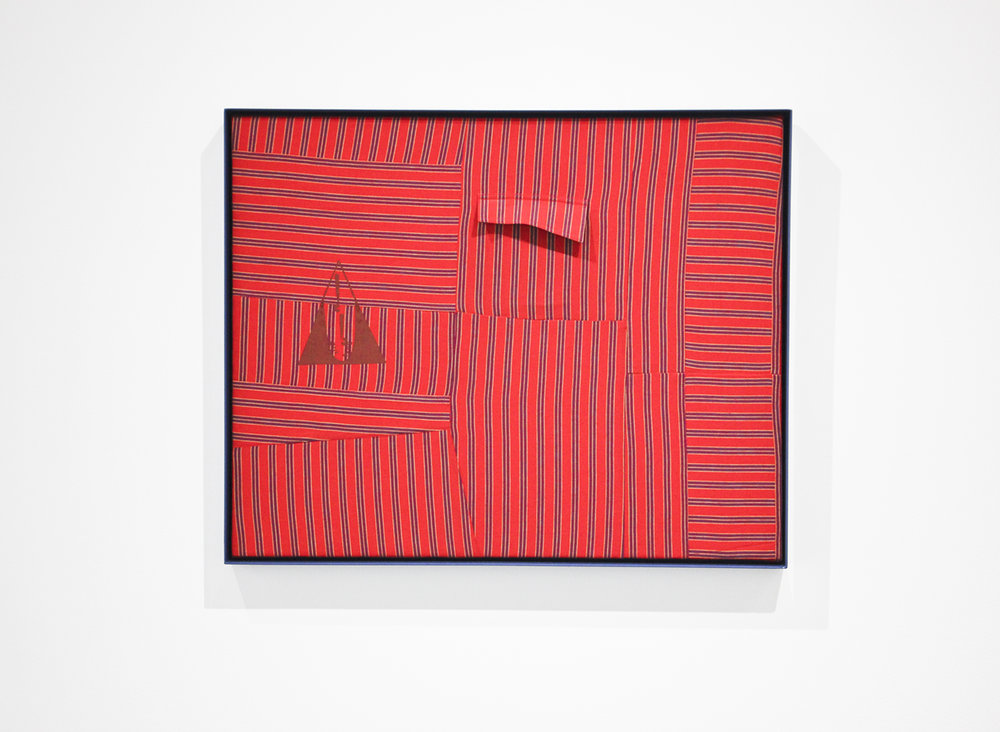 "Amanda Curreri 's   Qui Vive (Be Alert!)* Red   (2016), vintage garment, acrylic, thread, cotton batting, and powder-coated aluminum frame, 30.5"" x 24.5"", from the exhibition  ""Replacing Place,""  curated by MK Guth, currently on view at Anytime Dept. in Cincinnati, OH  * Early motto and logo of the Daughters of Bilitis (the first Lesbian political organization, started in San Francisco 1955)"