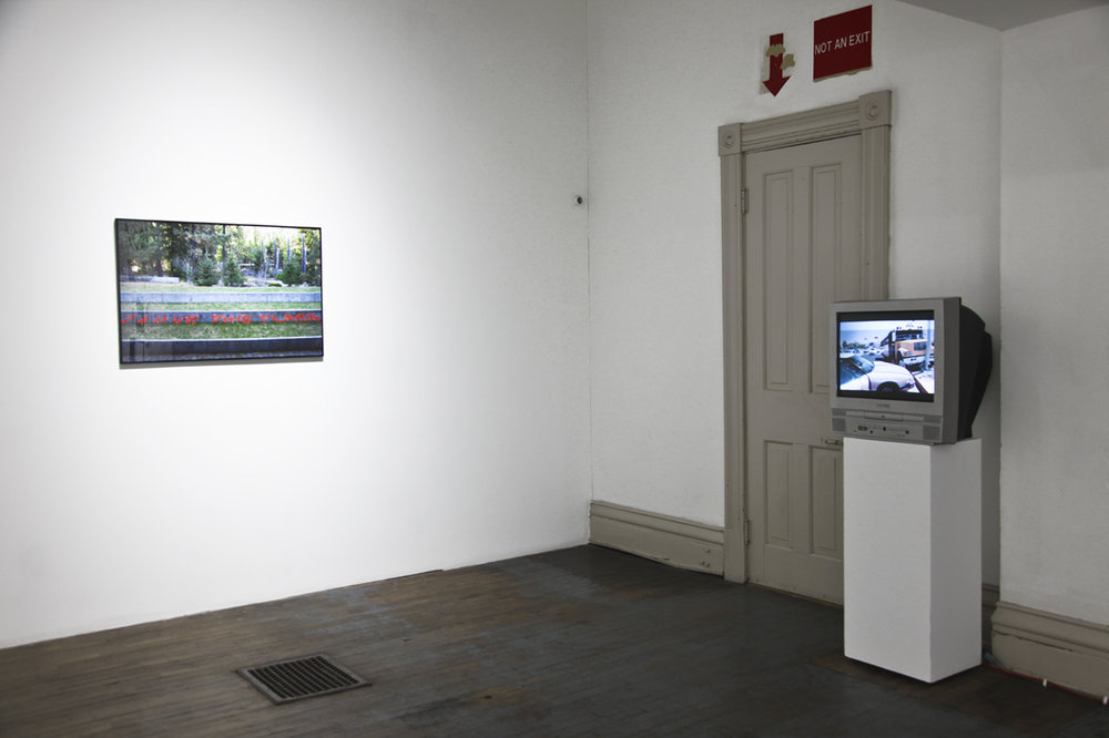 "Installation view of the group exhibition  ""Replacing Place""  (2017) curated by MK Guth at Anytime Dept., Cincinnati, OH"