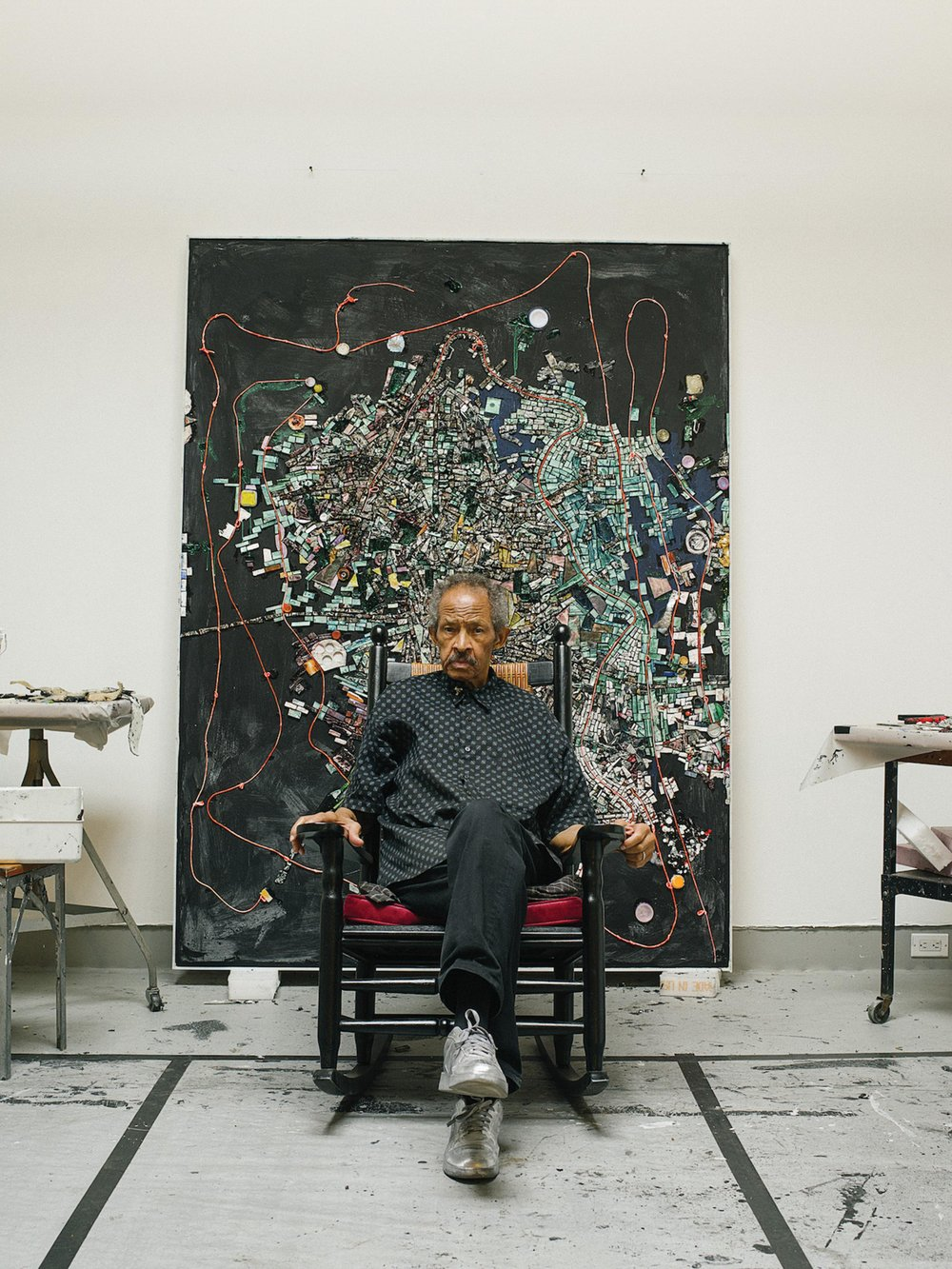 Jack Whitten photographed in his studio for the Wall Street Journal in September 2017