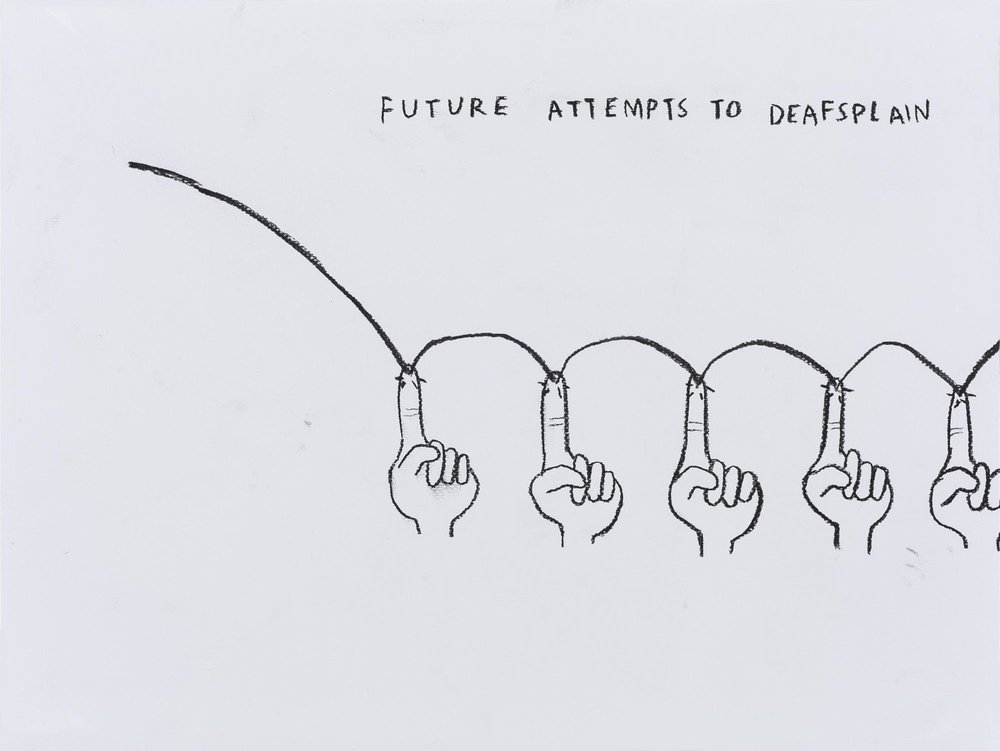 "Christine Sun Kim,  Future Attempts to Deafsplain  (2017), charcoal on paper, 30x40cm, part of the ""Future Base"" series she exhibited at the 2016 Shanghai Biennale with White Space Beijing"