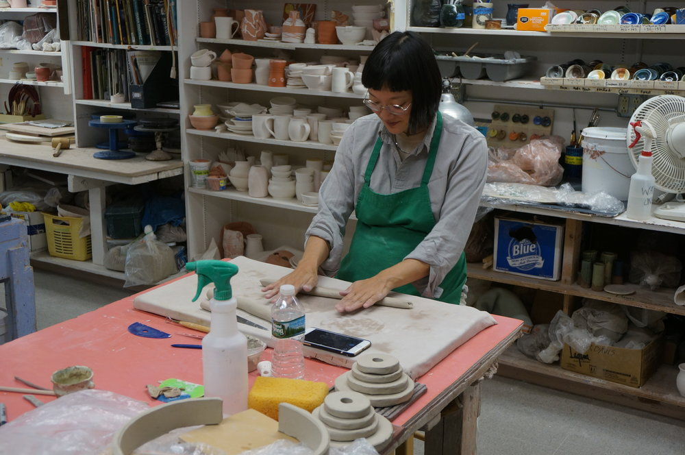 "Christine Sun Kim working on ceramic ""acousmatic"" sculptures"