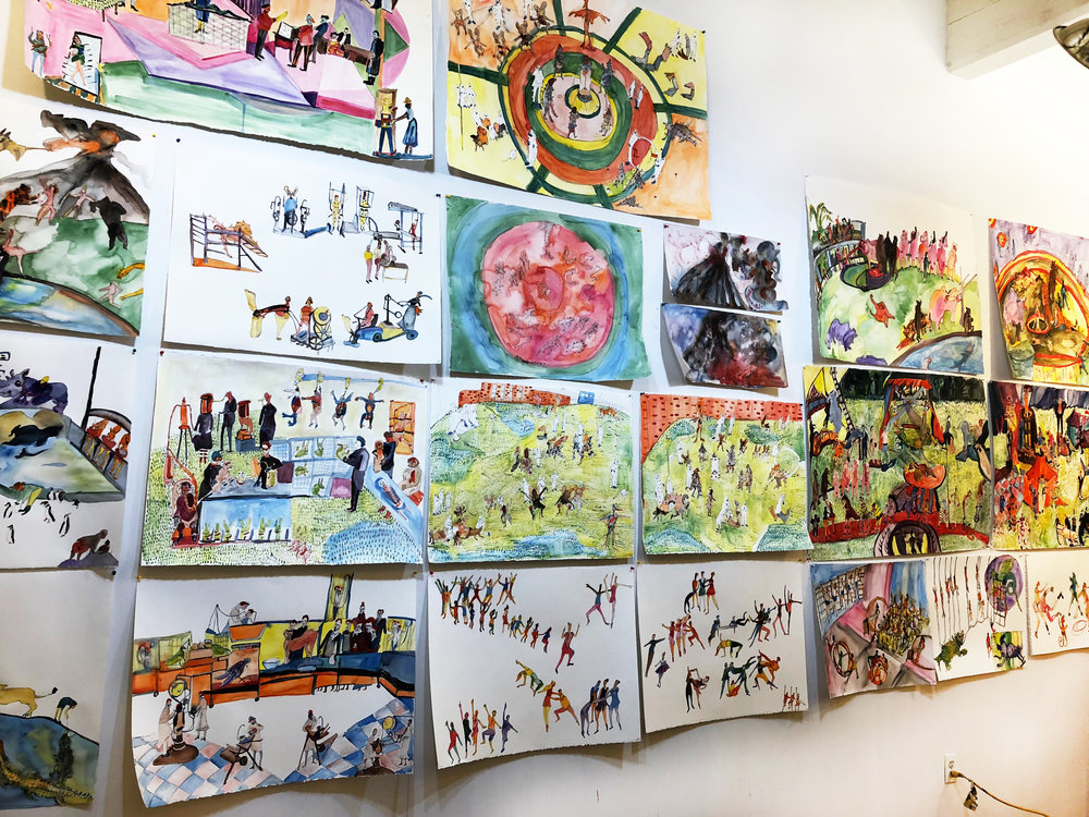 Bernstein's Wall-o-Watercolors in her studio