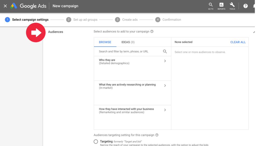 Pictured above is where you set up your targeting for your Google™ Ads Campaign. Search Engine Marketing through Google™ Ads is an awesome option for the majority of companies looking to target prospects searching for their product or services.