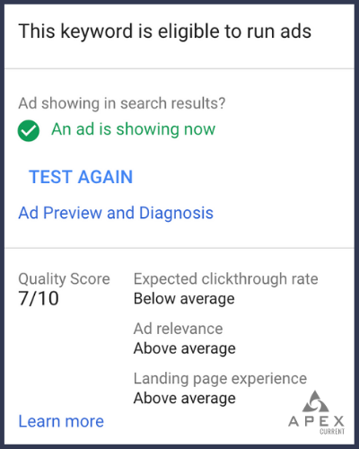 A quality score of one of Apex Current's search ads.