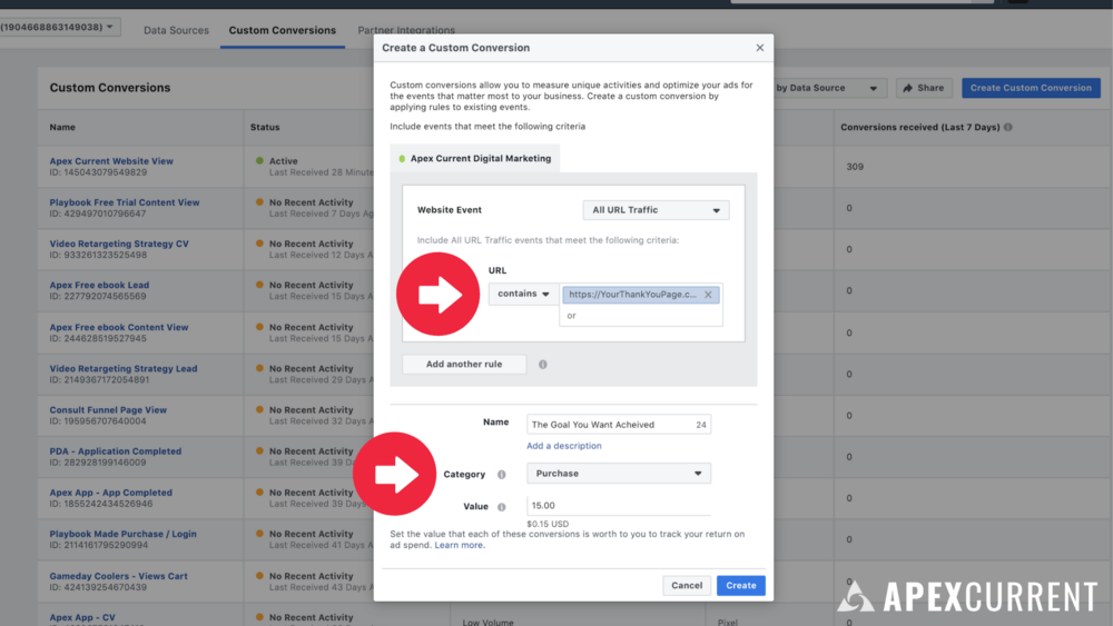 In Business Manager, you'll head to Events Manager / Custom Conversions.