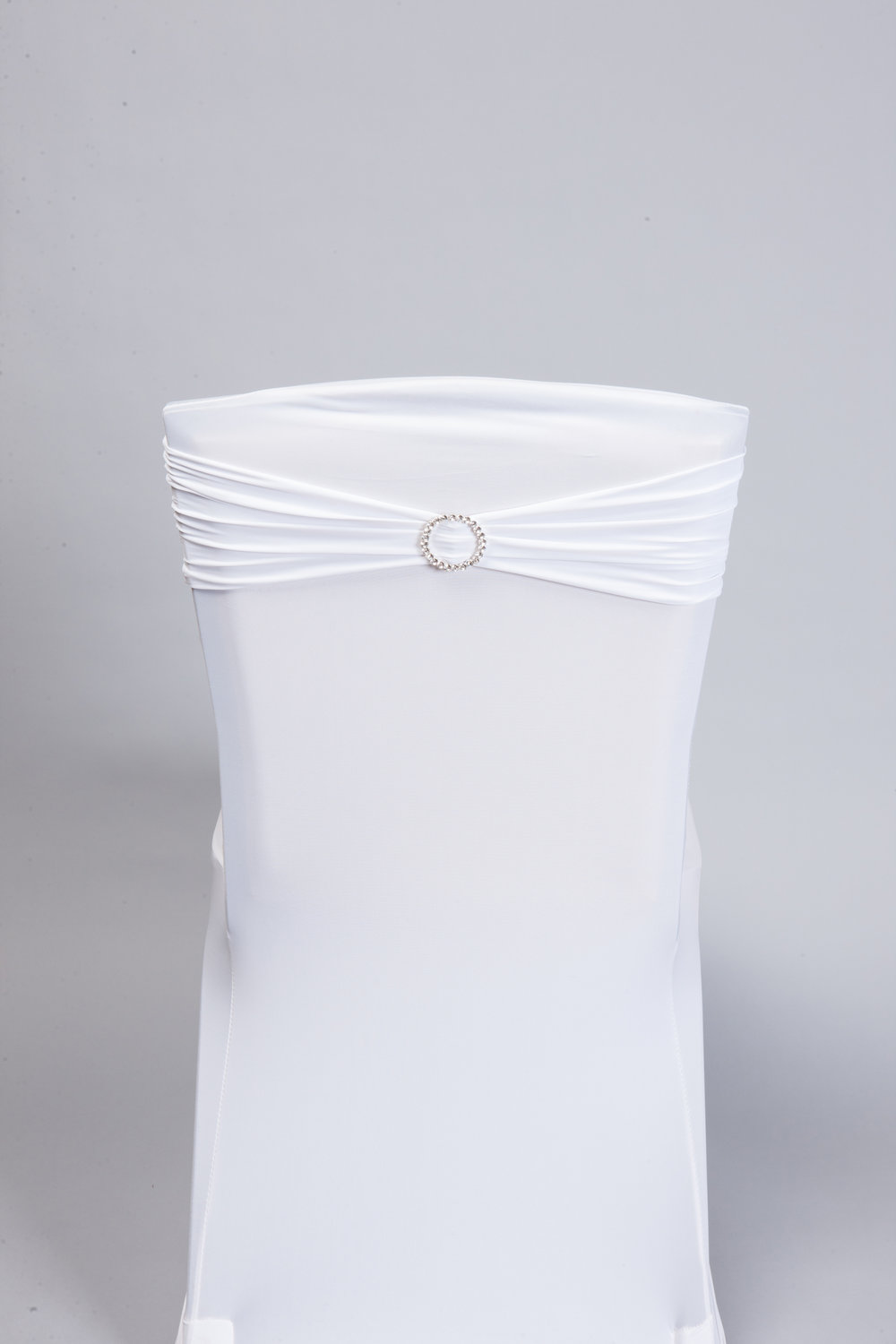 White Spandex Band with Bling Pin