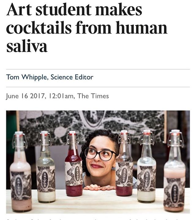 Check out The Times and you'll get to read an article about yours truly! . https://www.thetimes.co.uk/edition/news/art-student-makes-cocktails-from-human-saliva-b963k5t6t# . #biodesign #alcohol #thetimes #design #fermentation