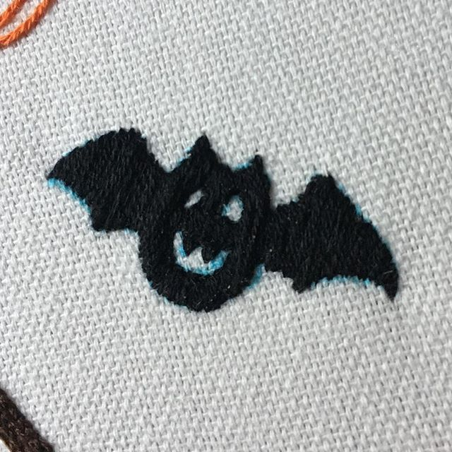 Day 2, 🦇  #stitchtober #bat #embroidery