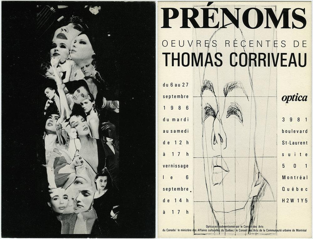Prénoms (First Names), Optica, Montréal, 1986 Carton d'invitation / Invitation Card