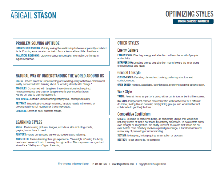 Optimizing Styles   (PDF) Recognize your preferred style and adapt