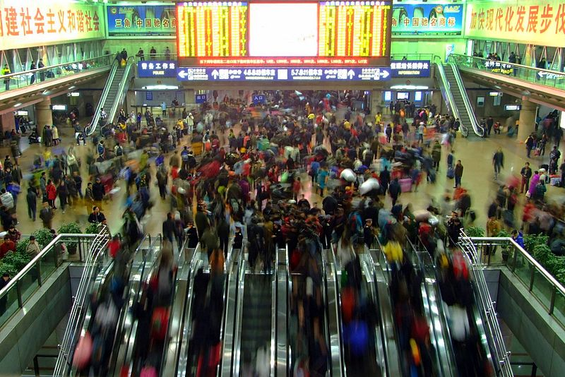 Scene of the 2009 Chunyun period inside  Beijing West Railway Station , Photo by Charlie Fong/Wikipedia