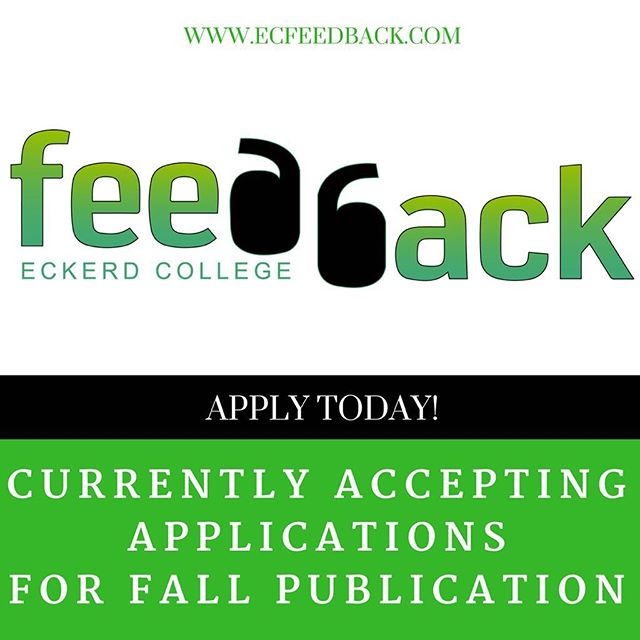 APPLICATION DEADLINE EXTENDED TO FRIDAY 9/22  Feedback Magazine is currently accepting applications for the following positions: a. Editors b. Journalists c. Web Developers d. Photographers e. Videographers f. Graphic Designers  If you are interested the link to the application is on our website! www.ecfeedback.com
