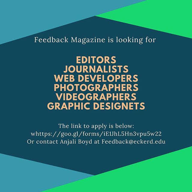 Last chance to apply for Feedback Magazine! Applicatons are due tomorrow, Sept. 22nd! Again, all majors are welcome! Visit us at http://ecfeedback.com/ to learn more about us.