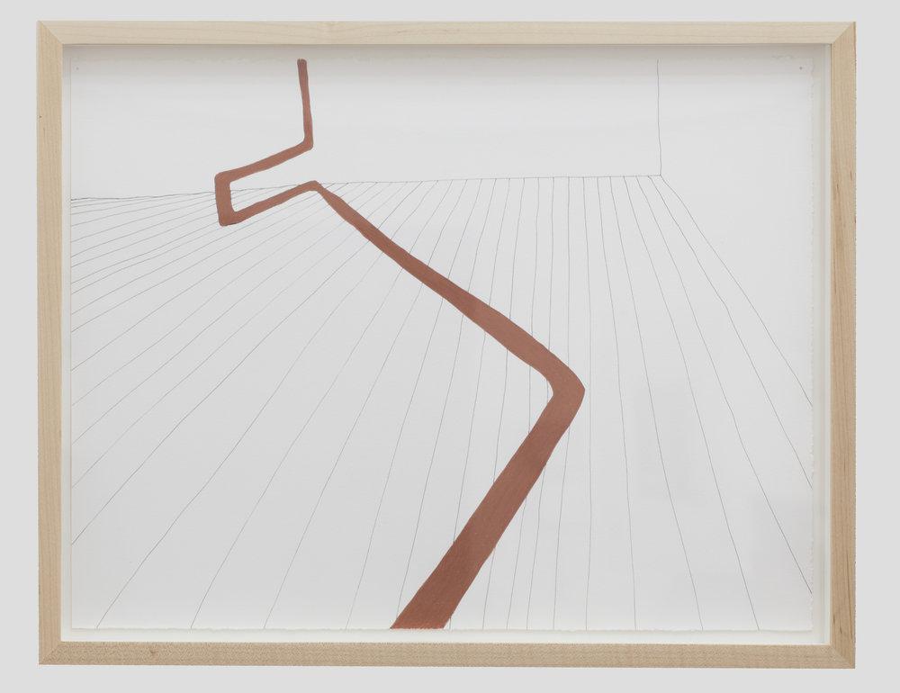 Gabriela Salazar, Notional Navigational Handrail , 2016. Ink and conté pencil on paper. Courtesy Efrain Lopez Gallery.
