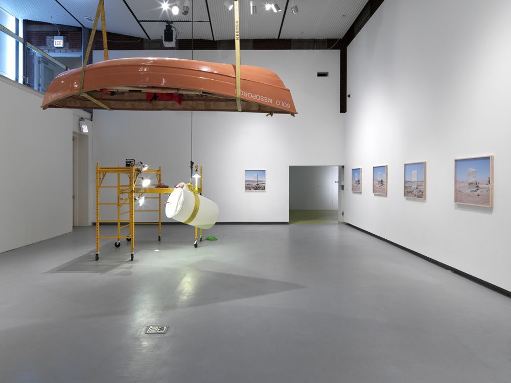 Installation view featuring works by Marissa Lee Benedict and Assaf Evron.