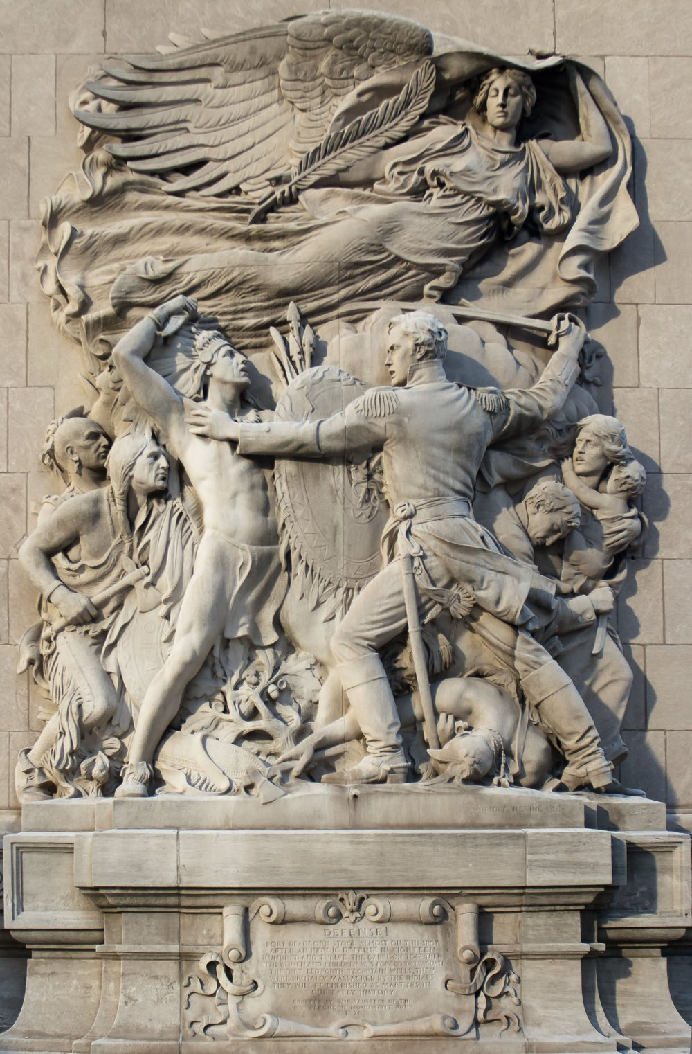 """Henry Hering, """"Defense,"""" 1928. Relief on the southwestern tower of the Michigan Avenue Bridge in Chicago."""