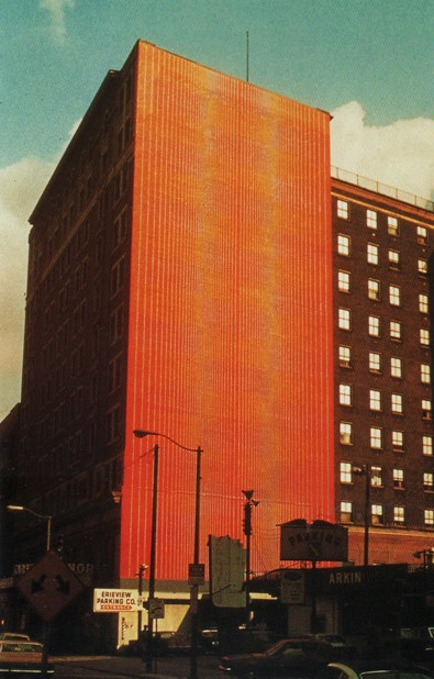 """Julian Stanczak, """"Carter Manor,"""" 1973, a commission from the Cleveland City Mural Project, will be repainted at the original site at Winton Manor on Prospect and 9th Street."""