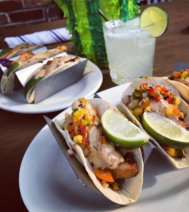 It's the weekend and we are READY. We're kicking off Cinco De Mayo with all new taco specials: in the foreground is Tequila Marinated Shrimp • Fresh Pineapple Salsa • Avocado • Habanero. Catch us tomorrow starting at noon for specials on Corona Buckets, more new tacos and $8 house margaritas!! Let's get this Fiesta going! #rustandgold #cincodemayo