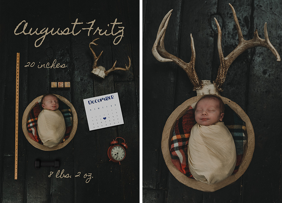Rustic Farm Newborn Boy Session, Antlers [Terry Farms Photography]