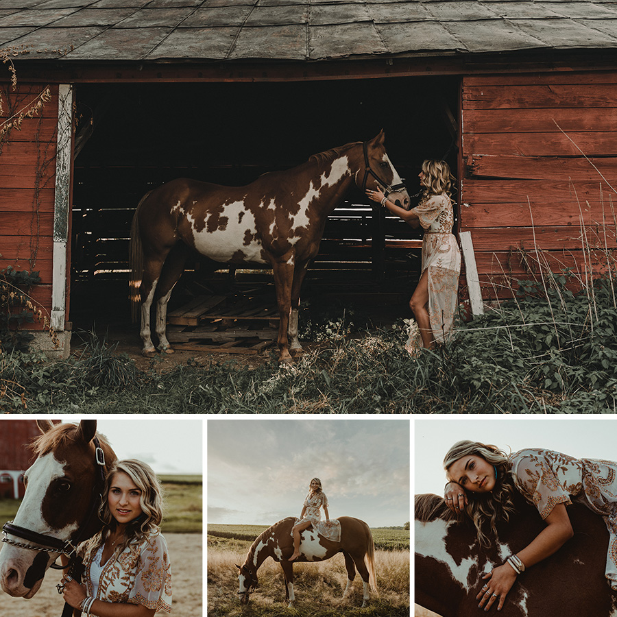 Boho Farm Sunset Senior Session with Painted Horse  [Terry Farms Photography]