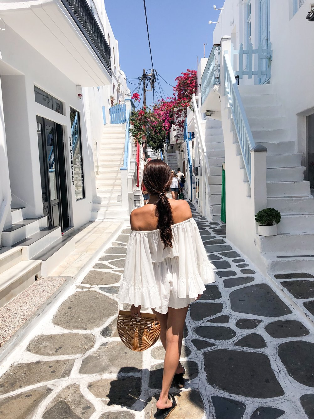 Mykonos Town. Pearl embedded romper by  C/MEO COLLECTIVE