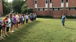 Science Methods students at WCU preparing to play Park Ranger.  Photo courtesy of Rich Preyer, TNCA