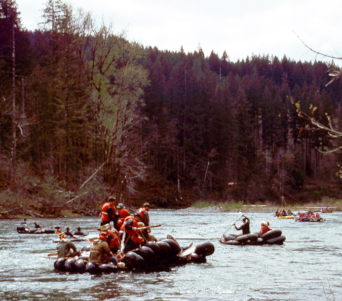 This isn't the Boise River, but these rafts are amazing. (Mckenzie River, c. 1969)