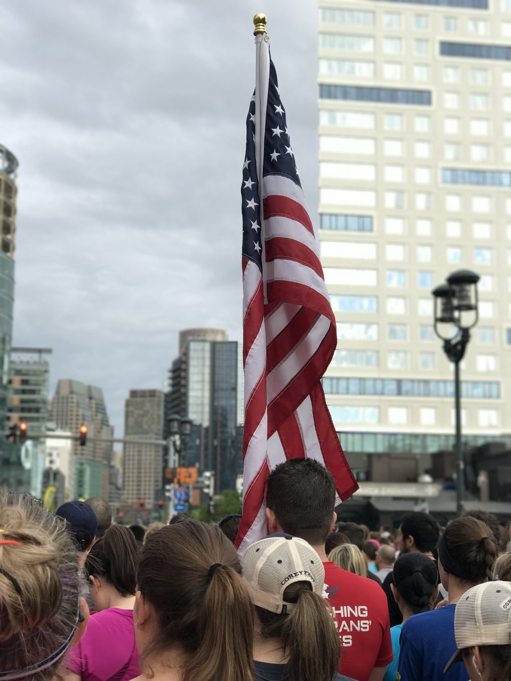 Flag raised during the National Anthem