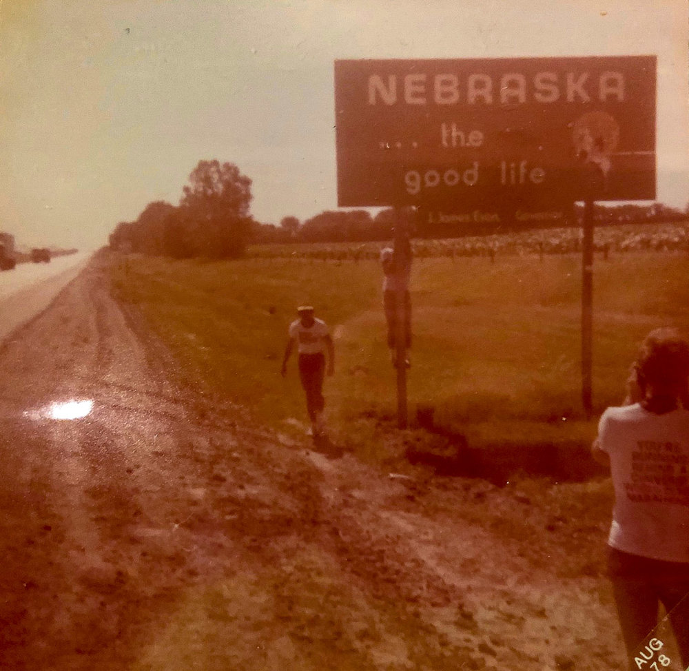 Entering Nebraska – cameras not too good in those days!