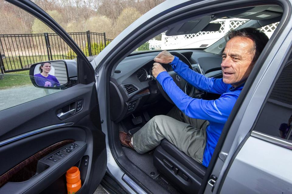Boston Marathon race director Dave McGillivray leaves his North Andover home for a meeting with the mayor at City Hall.  STAN GROSSFELD/GLOBE STAFF