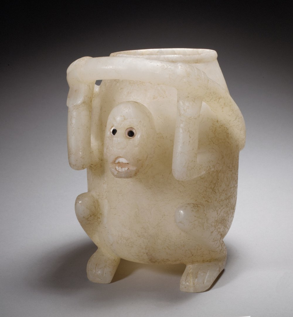 Mixtec Monkey Vessel, 10th - 13th Century, Onyx Marble, Pyrite, Shell  | ©   The Met Museum   |   Creative Commons Licence CC0 1.0