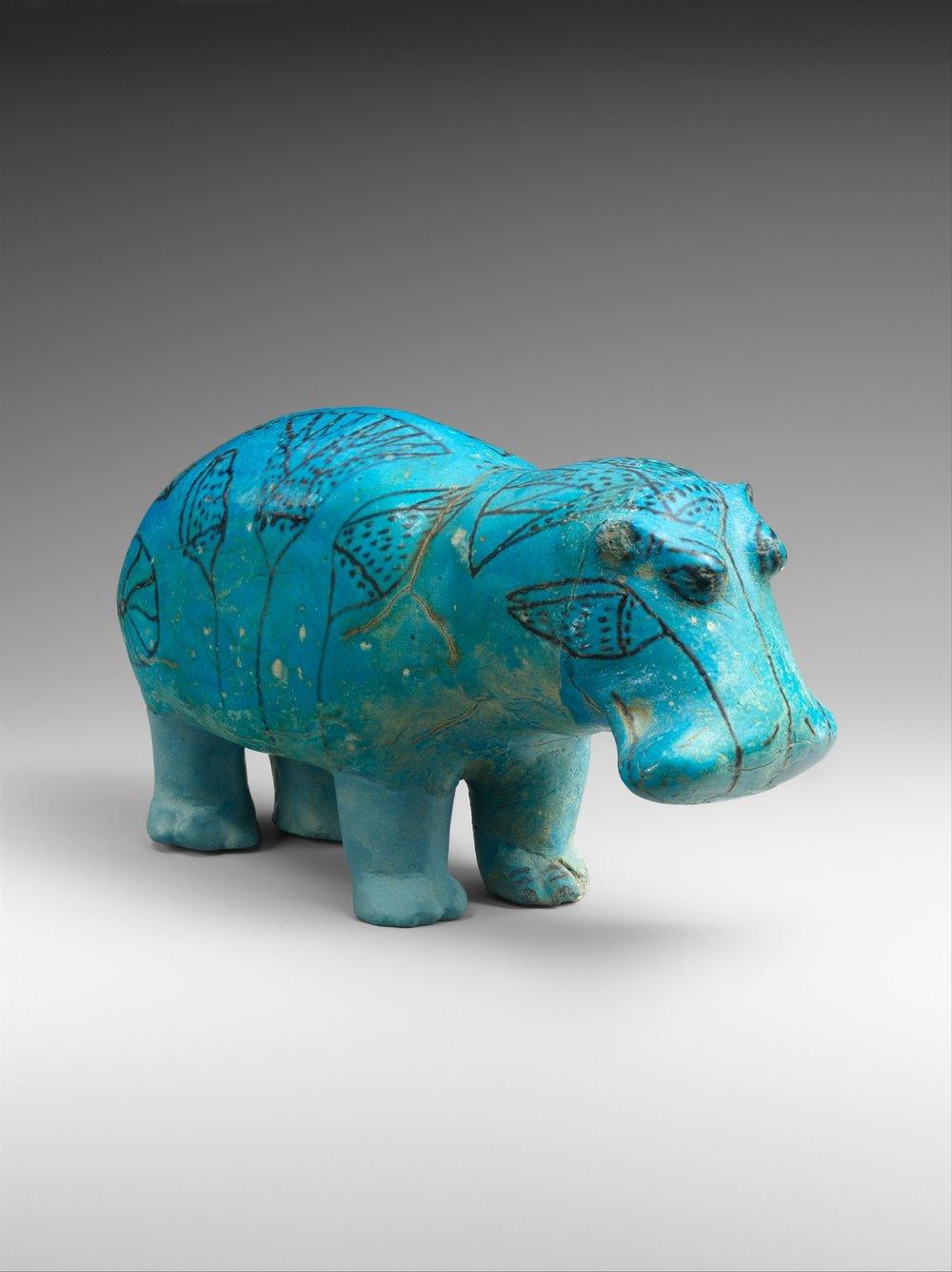 "Hipppotamus (""William""), 1961 - 1878 BC, Faience  | ©   The Met Museum   |   Creative Commons Licence CC0 1.0"