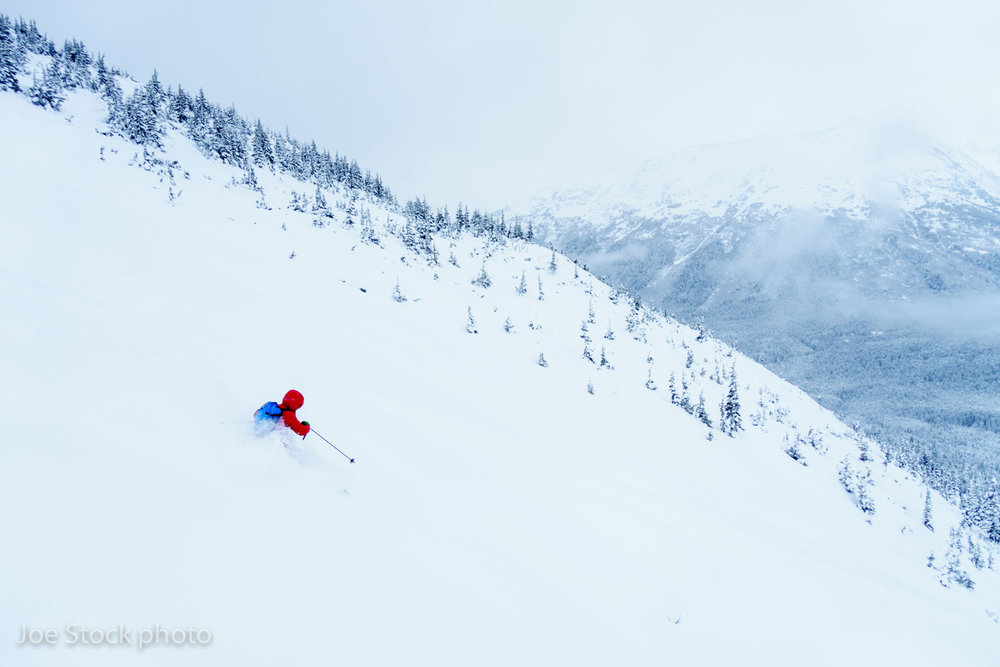 Jeff Conaway, scoops the goods from CPG at Notch Mountain near Girdwood in January. Deeeeeep!