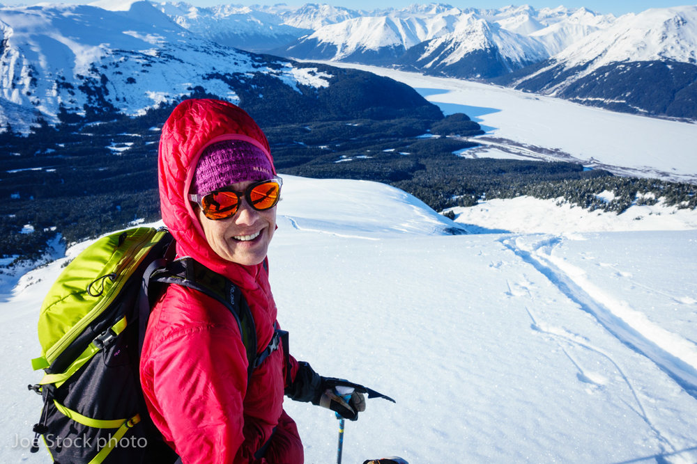 Cathy above the final 3,000 descent to Turnagain Arm on a linkup of Tincan, Eddies, Sharksfin and Worlverine Butte. This 9,000-vertical foot date with my wife was refreshing, like I'd been riding the La-Z-boy all day. As the years progress, and I become more work obsessed, I find the physical effort of skiing easy in comparison to the mental effort I put into guiding.