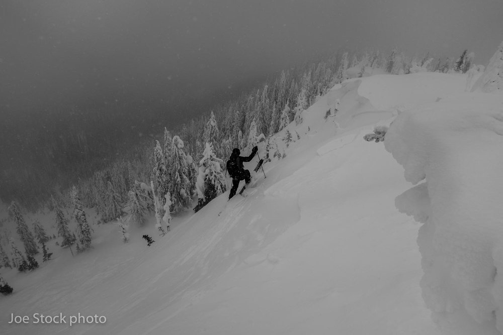 Keith Bobine ski cuts a size 2 on the east face of Mount Mackie, Kootenay Mountains, British Columbia.