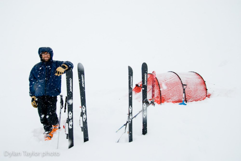 We reached our food cache and waited for the weather to clear so we could ski chutes.