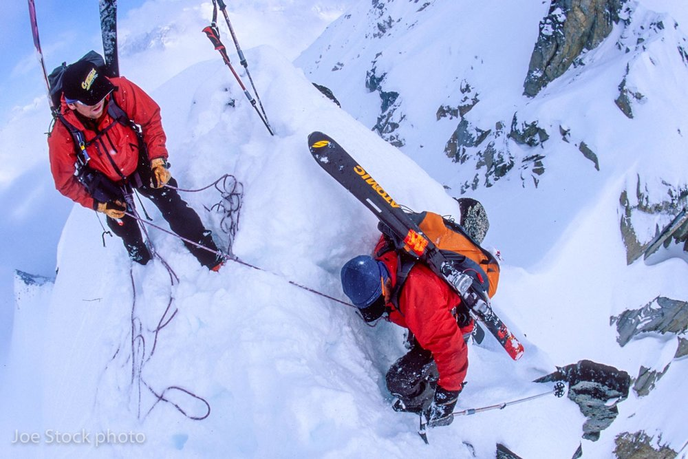 When the snow stabalized we headed for the 3,000-foot Gorilla Finger couloir. Here's Dylan belaying Andrew into the entrance.