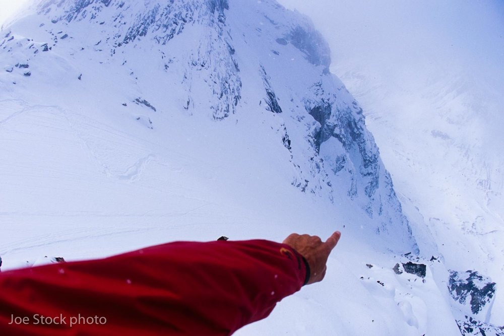 Dylan Taylor taking first dibs on the 3,000-foot Immortal Technique Couloir.
