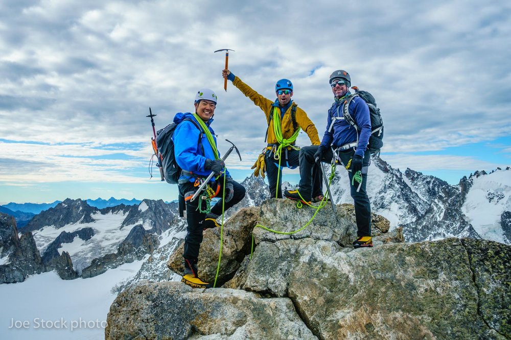 On the summit of Aiguille du Tour on the first Alps trip of the year with Abe Hsieh and Tom Collins. Abe and Tom are from Anchorage. This was part of a week-long mountaineering course. We battled some weather, but tagged a bunch of summits, skills and wine drinking at the huts.