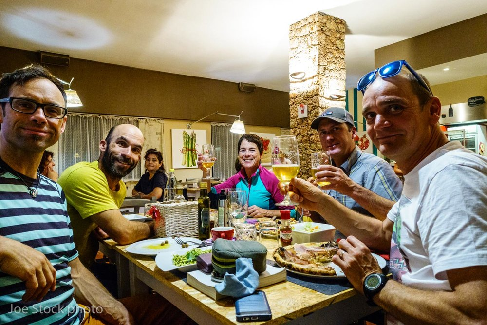 Joe, Andrew Wexler, Cathy, Eric Larson and Boris Lorencic having real deal Italian pizza after climbing at Oltre Finale. This summer Cathy did a world-class job at enduring night after night of guide talk.  Well, another late summer in the Alps. I love it and can't wait for next year. For now, I'm so excited to return home to the USA!