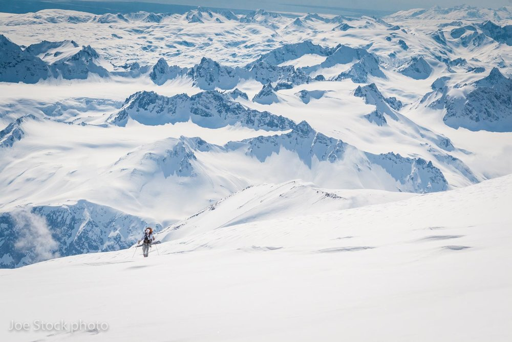 Dylan skinning toward the summit of Mount Spurr. Neacola Mountains beyond.