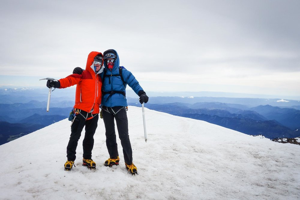 Collin and Caleb Dyches on the summit of Mount Rainier. During winter 2018, we practiced ice climbing and mountaineering skills. In July they summited as part of an independent team.