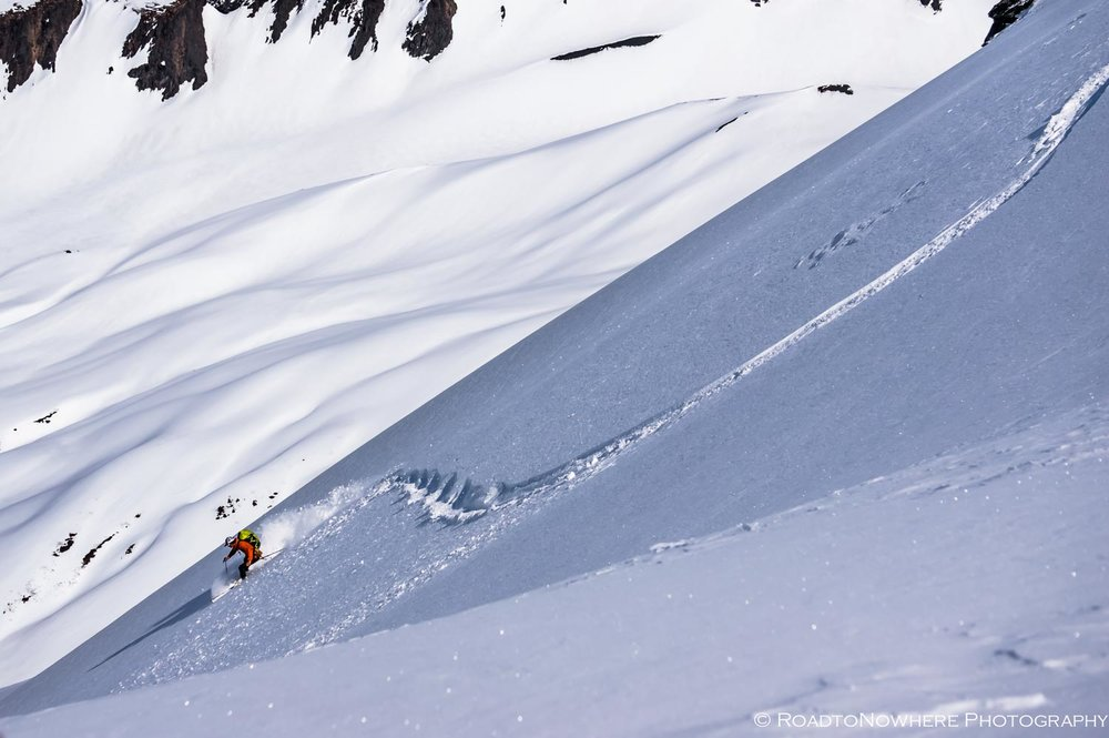 Joe enjoying the feather-weight of the Synapse/Ion/Alpinist Skins at Turnagain Pass in the Kenai Mountains. Photo by Dustin LeClerc.