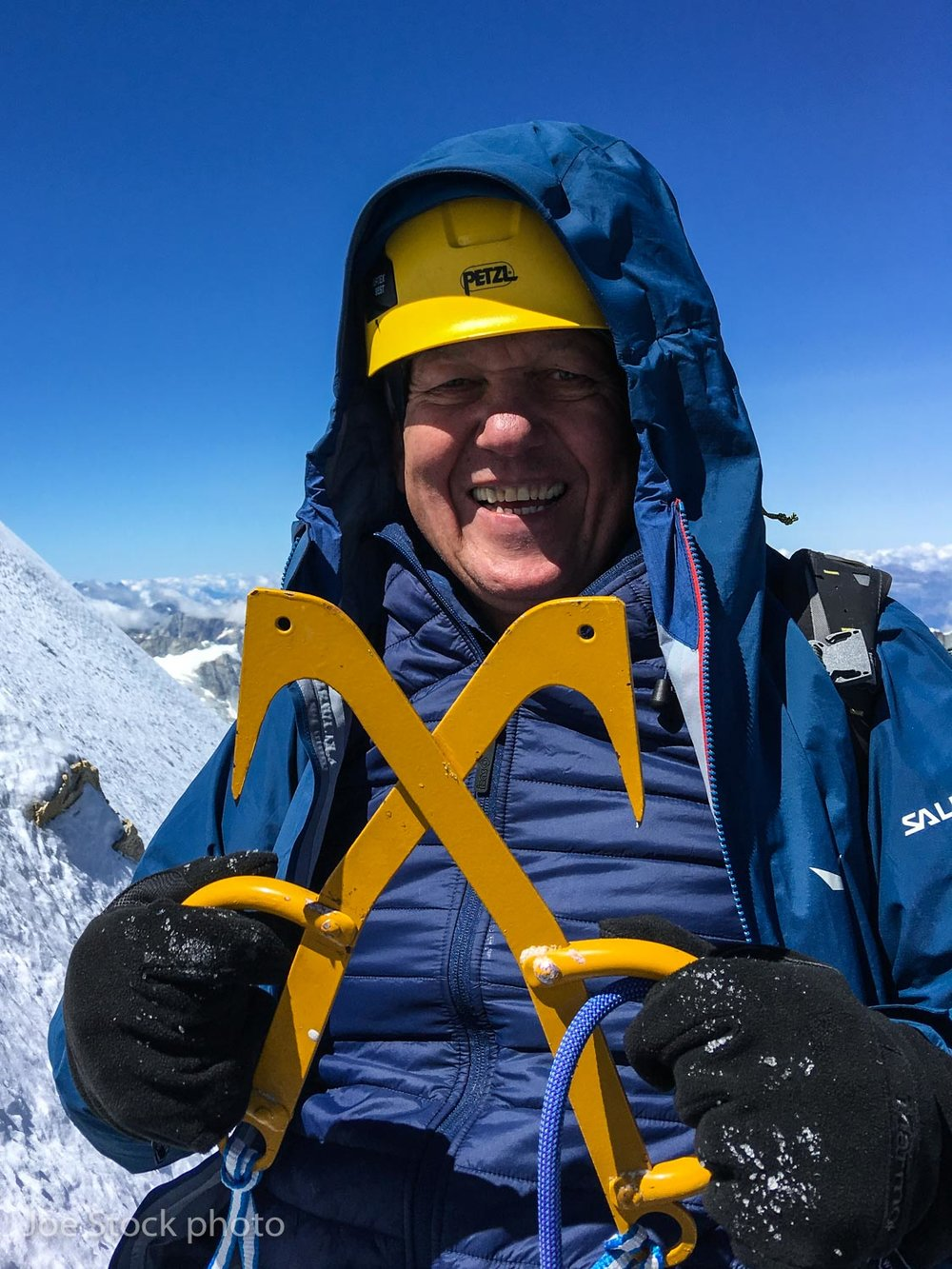 Russian with his ice hooks on the Matterhorn summit icefields.